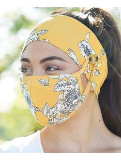Love, Kuza Yellow & White Floral Dual-Layer Non-Medical Mask & Button Headband Set