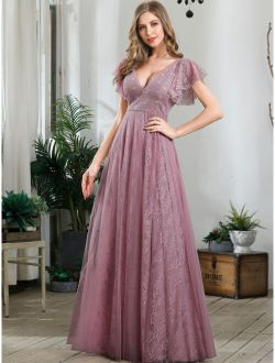 Butterfly Sleeve Lace Prom Dress