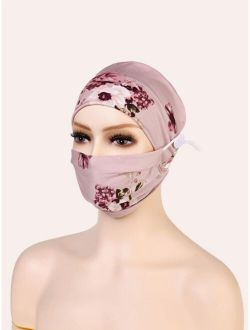 Floral Print Face Mask & Hair Band