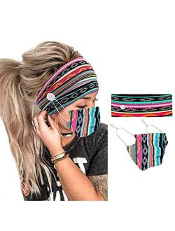 YBSHIN Boho Bandeau Headbands Leopard Headsarfs with Buttons for Mask Head Wraps Stretch Hair Bands Yoga Turban Floral Hair Accessories for Women and Girls (2Pcs) (Set 10