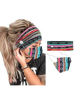 CAKURE Boho Headbands with Buttons WideTurban Headband Mask Set African Head Wraps Hair Accessories for Women and Girls Pack of 2