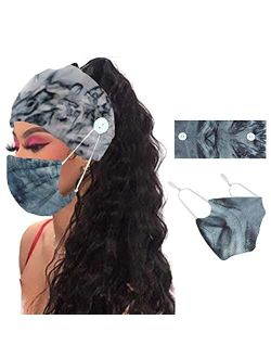 YBSHIN Headbands and Mask Set Headbands with Buttons for Mask Floral Hair Wraps Turban Tie dye Hair Scarfs Non Slip Nurse Headbands Hair Accessories for Women and Girls 2