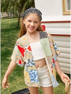 Girls Open Front Patchwork Kimono