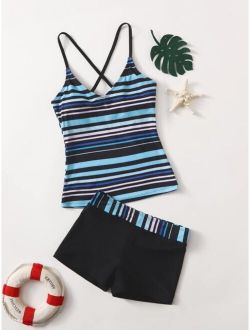 Girls Striped Bikini Swimsuit