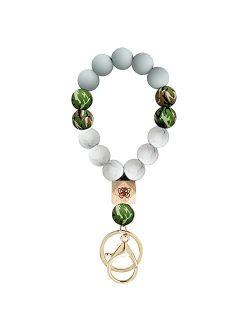 Keychain Bracelet Wristlet Elastic Silicone Beads Key Chain Rings Cute Keyrings Keychains Tassel for Women Car Keys