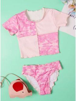Girls Tie Dye Lettuce Trim Bikini Swimsuit
