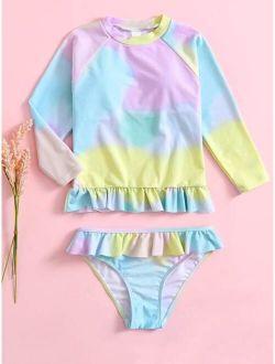 Girls Tie Dye Ruffle Hem Bikini Swimsuit