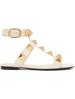 White Leather Roman Stud Flat Sandals