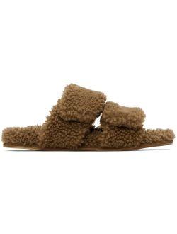 Dries Van Noten Beige Shearling Platform Slide Sandals
