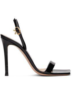 Gianvito Rossi Black Patent Ribbon Stiletto 105 Heeled Sandals