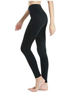 TSLA Women's Thermal Yoga Pants, High Waist Warm Fleece Lined Leggings, Winter Workout Running Tights with Pockets