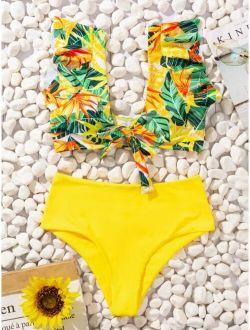 Random Tropical Print Ruffle Bikini Swimsuit