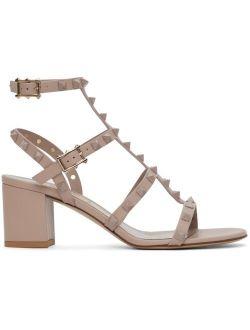 Pink Rockstud Cage Block Heel Sandals
