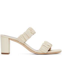 Staud Off-White Frankie Ruched Sandals