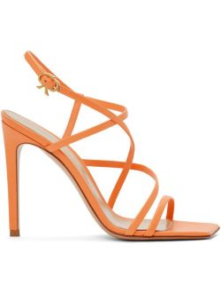Gianvito Rossi Orange Multi-Strap Heeled Sandals