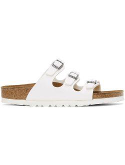 White Birko-Flor Narrow Florida Sandals