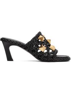 Black Braided Roman Stud Heeled Sandals