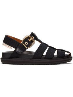 Marni Black Canvas Fussbett Sandals