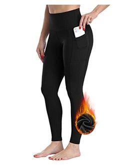 CHRLEISURE Fleece Lined Winter Leggings Women, High Waisted Thermal Warm Yoga Pants with Pockets