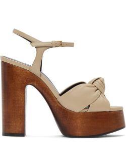 Beige Leather Bianca Heeled Sandals