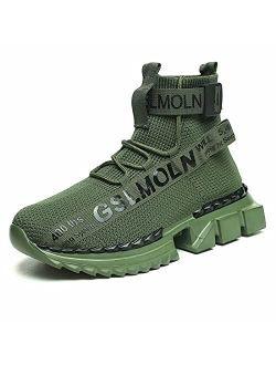 Jakcuz Men's High Top Sneakers Gym Lightweight Breathable Athletic Running Walking Tennis Boy Comfortable Fashion Platform Shoes