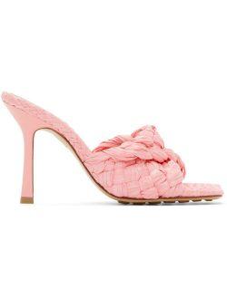Pink Raffia Stretch Heeled Mules