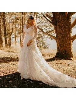 Fanciest Women's V Neck Lace Long Sleeve Wedding Dresses for Brides 2021 Boho Rustic Bridal Gowns White