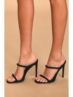 Theyaa Black Suede Square-Toe High Heel Sandals