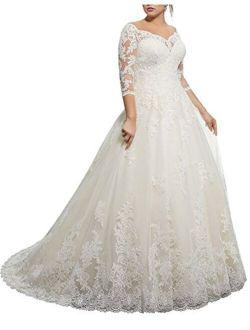 Kmformals Women's Lace Appliques Long Sleeve Plus Size Wedding Dress
