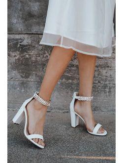 Mylan White Ankle Strap Heels