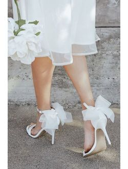 Ayanna Ivory Satin Bow Ankle Strap High Heel Sandals