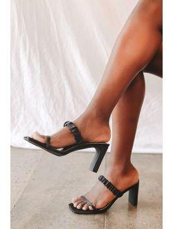 Sheenuh Black Satin Square Toe High Heel Sandals
