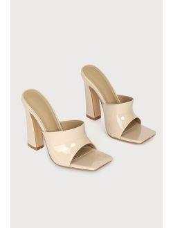 Briannah Cream Patent High Heel Slide Sandals