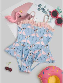 Toddler Girls Flamingo One-Piece Swimsuit