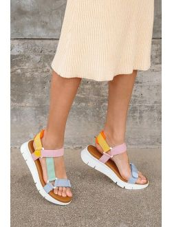 Dirty Laundry Qwest White Multi Strappy Platform Sandals