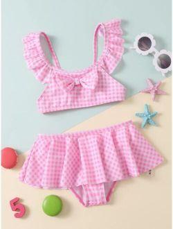 Toddler Girls Gingham Knot Front Bikini Swimsuit