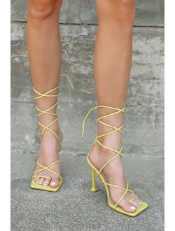 Nadja Lime Square-Toe Lace-Up High Heel Sandals