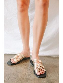 Intentionally Blank Please Advise Gold Leather Knotted Slide Sandals