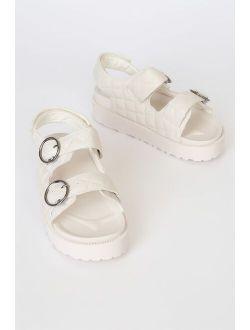 Talleigh Beige Quilted Buckled Flatform Sandals