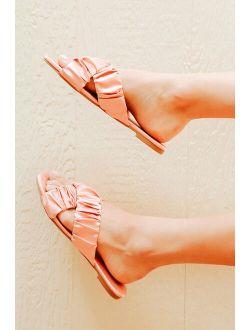 Dallyce Pink Satin Ruched Slide Sandals