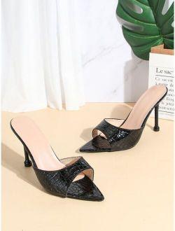Croc Embossed Stiletto Heeled Mule Sandals