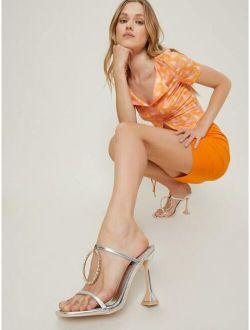 Metallic Pleather Open-Toe Strappy Stiletto Heels