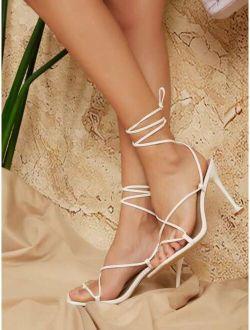 Cross Strap High Heeled Sandals