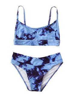Girl's 2 Piece Tie Dye Bikini Set Beach Sport 2 Piece Swimsuit