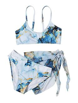 SOLY HUX Girl's 3 Piece Swimsuits Printed Bikini Bathing Suit with Cover Up
