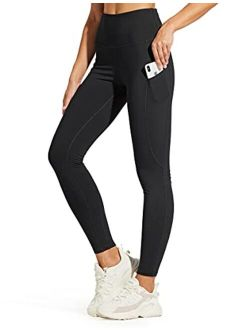 ZUTY Fleece Lined Leggings Women Water Resistant Winter Thermal High Waisted Tights Hiking Leggings with Pockets Plus Size