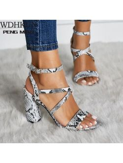 Fashion high heels Sandals sexy open toes shoes woman spring summer Snakeskin Ladies Sandals with strap footwear
