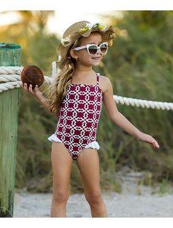 Mia Belle Girls Burgundy & White Flutter-Strap One-Piece - Toddler & Girls