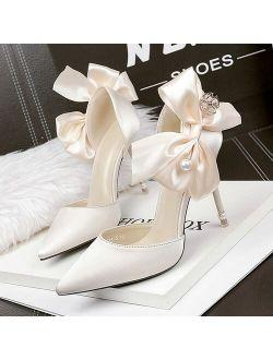 Women Pumps Sexy High Heels Red Stiletto Wedding Bride Designer Shoes Ladies Pearl Sandals Pointed Toe Butterfly Heels Luxury