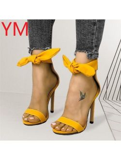 Fashion Ankle Strap Women Pumps Casual Sandals Summer Bow High Heel Shoes Ladies Office Work Sandalias Shoes Gladiator Yellow
